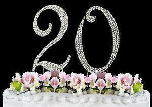 Swell Large Rhinestone Crystal Monogram Number 20 Birthday Cake Toppers Funny Birthday Cards Online Benoljebrpdamsfinfo