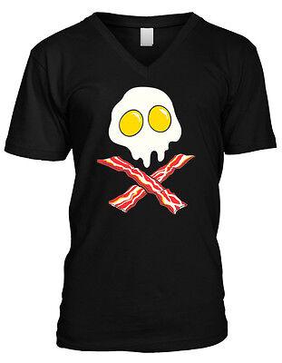 Bacon Eggs Skull Crossbones Heart Healthy Funny Paleo Food Humor Mens T-shirt