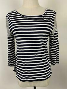 Seed-Heritage-Women-039-s-Sequin-Shoulder-Black-Striped-Top-Sz-S-A5-Free-AU-Post