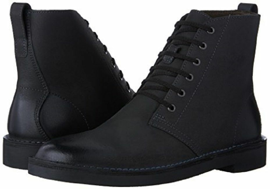 Clarks Mens Bushacre Top Chukka Black Leather Lace Up Ankle Boot Sz 12 NEW