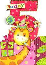 Girls 5th Birthday Jungle Friends Greeting Card Die Cut Wobbly Eye Cards