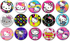 "HELLO KITTY #1 - Lot of 15 Pin Back 1"" Buttons BADGES (One Inch)  Set 1"