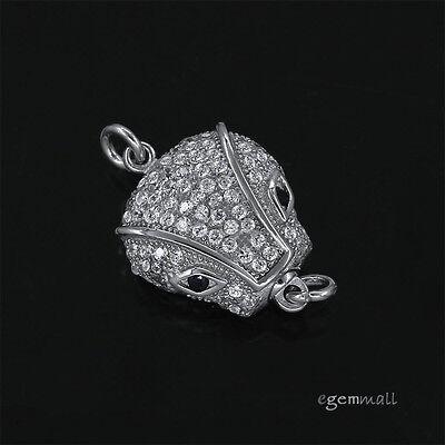Sterling Silver CZ Cat Face Push Button Clasp for Necklace Bracelet #99151