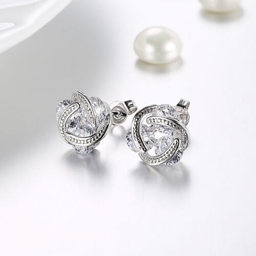 18K White Gold Filled 11mm Knot Clear Cubic Zirconia Stud Earrings