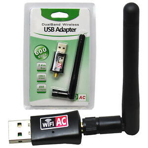 600Mbps Dual Band 2.4//5.8Ghz Wireless Lan USB WiFi Adapter 802.11AC with Antenna