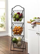 Metal Baskets For Storage Fruit Vegetables Display Rack Kitchen Space Saver Bins