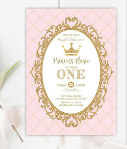 Image Is Loading Princess First 1st Birthday Invitation Pink Gold Party