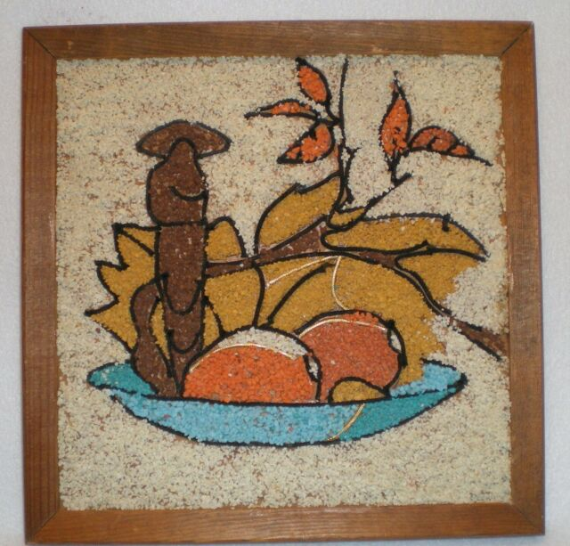 Vintage Gravel Pebble Rock Art Bowl Fruits Leaves Wall Art Mid Century MCM 11x11