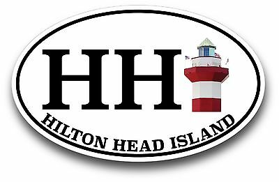 fagraphix Two Pack Oval HH Hilton Head Island Lighthouse Sticker Self Adhesive Vinyl Decal SC Harbour Town