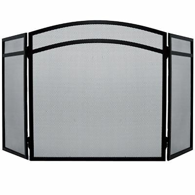 Fire Screen Arched Black Spark Guard Fireplace Fireside Panel By Home Discount