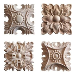 Wood-Applique-Woodcarving-Decal-Furniture-Decor-Wooden-Carved-Appliques-2-Pieces