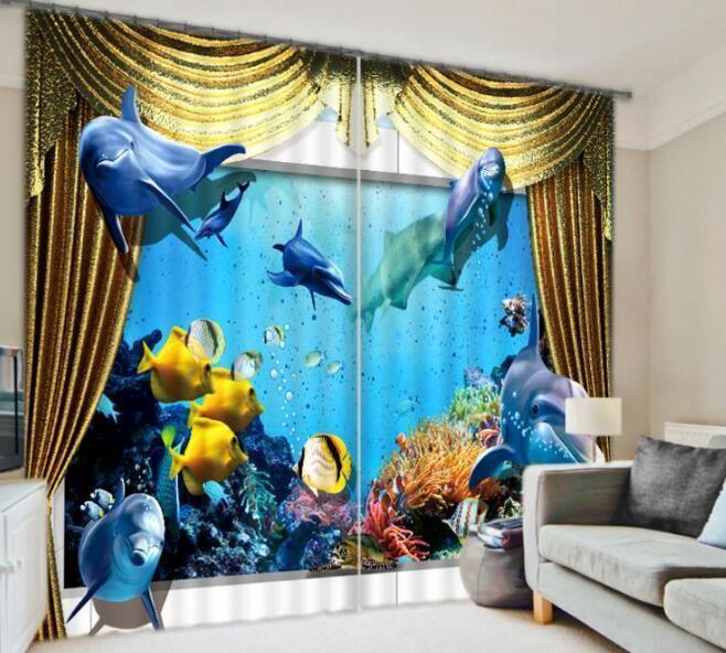 3D azul Dolphin Blockout Cortinas de impresión de fotografías Cortina Tela Cortinas Ventana CA