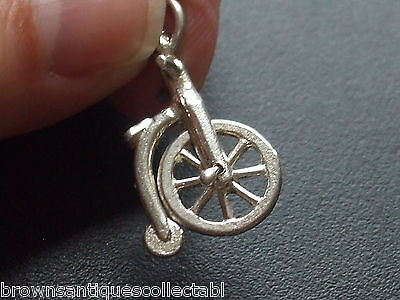 VINTAGE SILVER CHARM UNUSUAL VERSION MOVING PENNY FARTHING CYCLE STERLING BIKE
