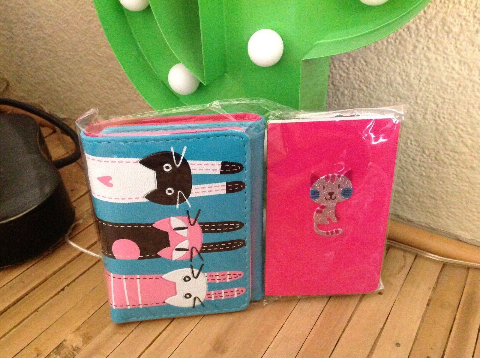 Retro Cat Kitty Kitsch PU Wallet Purse & Notebook 2 Piece Pink Blue Gift Set