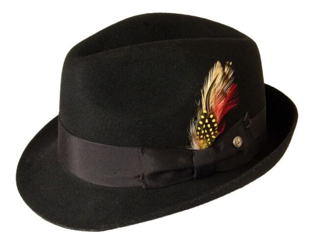 Gamble & Gunn Black Vintage Style 'Kempton' Traditional Trilby 100% Wool Felt