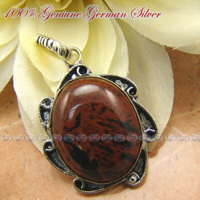 STUNNING OBSIDIAN  GEMSTONE GERMAN SILVER DESIGNER PENDANT - 1-3/4 Inches