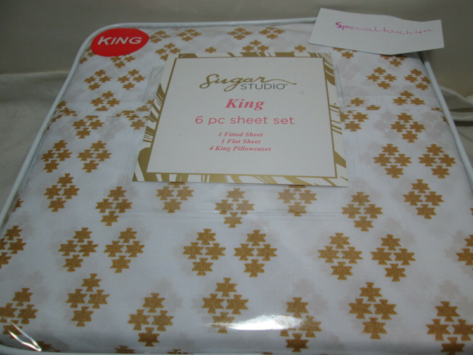 New Sugar Studio 6 Piece King Sheet Set gold Diamonds and White NIP