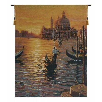 Venetian Sunset Ii Venice Italy Gondola Scene European Woven Tapestry Wall Art Ebay