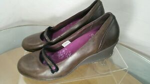 Merrell-Womens-Mary-Jane-Shoes-Wedge-Heels-Comfort-Brown-US-Size-10-Leather