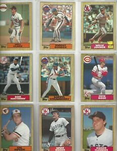 Fifteen 1987 Topps Baseball Cards Clark Gooden Joyner Mattingly Strawberry Rose
