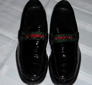 56790e5a8b4a5 Image is loading Mens-Gucci-Horsebit-Black-Patent-Shiny-Leather-Red-