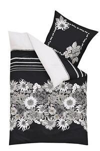 kaeppel mako satin bettw sche le jour 4 tlg rv blumen schwarz wei bunt 135x200 ebay. Black Bedroom Furniture Sets. Home Design Ideas