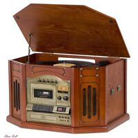 Vinyl Record Player With Speakers Antique Vintage Table Usb Cassette Aux To Mp3