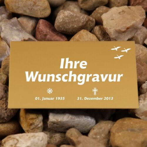 Aluschild gold, Schild Grabplatte Grabschild Trauerschild 3 Größen, inkl. Gravur