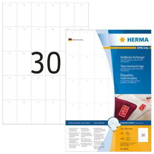 HERMA 8046 Stabile Anhänger A4 35x59,4mm 3000 Stück reißfest Papier Folie weiß