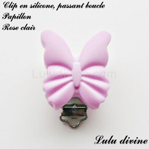 Pince // Clip en silicone Papillon : Rose clair passant boucle attache tétine