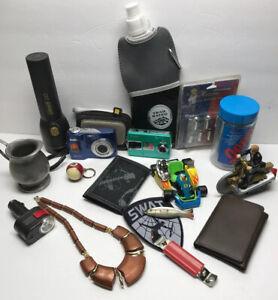 Lot-Of-Camera-Kodak-Outdoor-Coleman-Random-Toys-Jewelry-Wallet-Leather-Tools-Vtg