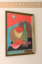 MID CENTURY MODERN ABSTRACT ORIG. SURREALIST PAINTING! Art Eames Vtg Atomic 50's