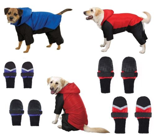 DOG SNOWSUIT & BOOT SETS - Red or Blue Snow Suit with FREE Matching Snowboots !