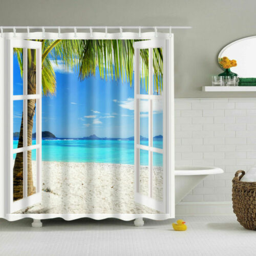 Shower Waterproof Curtain Fabric Landscape Villa Seaside Bathroom Polyester