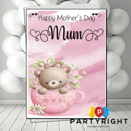 Mothers Day Card Personalised Tea Cup Teddy Birthday