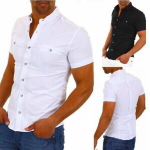 Men-Collar-Button-Down-Blouse-Slim-Fit-Short-Sleeve-Cotton-Henley-T-shirts-Tops