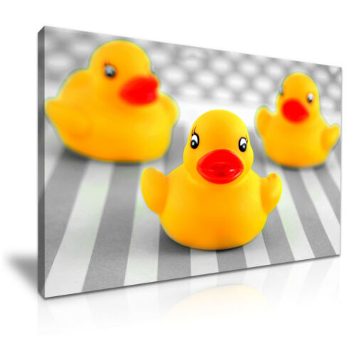 Yellow Bath Rubber Duck Kids Canvas Wall Art Picture Print 76x50cm