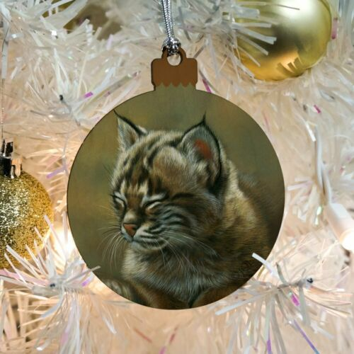 Baby Young Bobcat Kitten Wood Christmas Tree Holiday Ornament