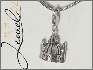 Damen-Charm-Anhaenger-echt-Silber-925-Sterling-rhodiniert-Moschee-mit-Minarett