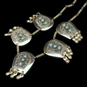Israel-925-Sterling-Silver-Vintage-Necklace-Turquoise-Beads-Mid-Century-Ornate