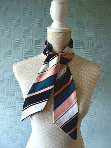 À Rayures Minces écharpe rose bleu blanc cravate noire à rayures multicolores Nœud rétro sixties