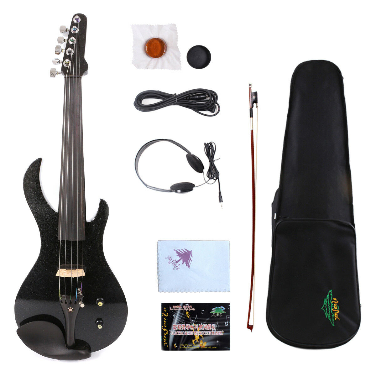 Yinfente 5string Electric Silent Violin 4 4 Free Case Bow Cable  EV20