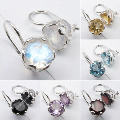 Bleu Moonstone et Quartz Rose Marquise 925 Sterling Silver Dangle Boucles d/'oreilles