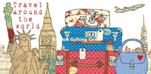 *CAROLA PABST*Postkarte XXL*Gute Reise*New York*London*....*11,5 x 23cm