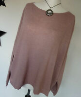 D&F Italy Moda Oversize Pullover 36-42- alt rosa  Cashmere  Wolle Lagenlook NEU