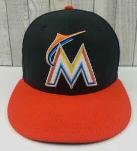 New Era 59Fifty Miami Marlins Authenic MLB Fitted Sz 7-1/8 Black/Orange Hat Cap