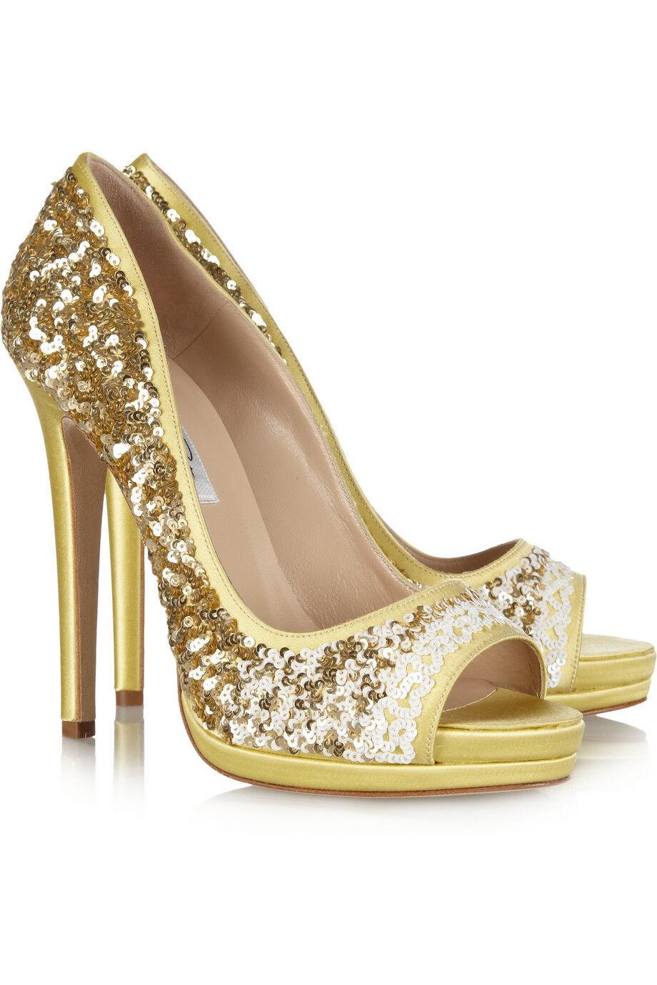 NIB Oscar de la Renta Valerie Satin Sequin Peep-Toe Heel - Size 40 -  895