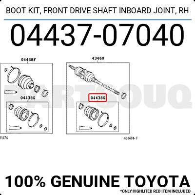 For Toyota Genuine CV Joint Boot Kit Front Right Inner 0443707040