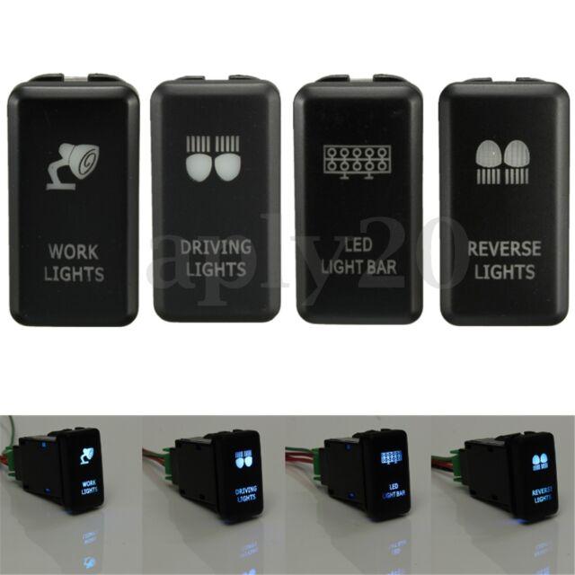 4xON-OFF Push Button Switch Blue LED Work Light Bar For Toyota Hilux Landcruiser