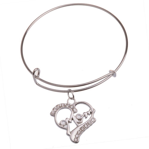 Gift For Mum Mom Silver Heart Pendant Necklace Mothers Day Birthday Mommy Charm